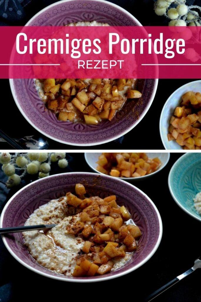 Cremiges Porridge in einer Schüssel mit karamellisierten Äpfeln