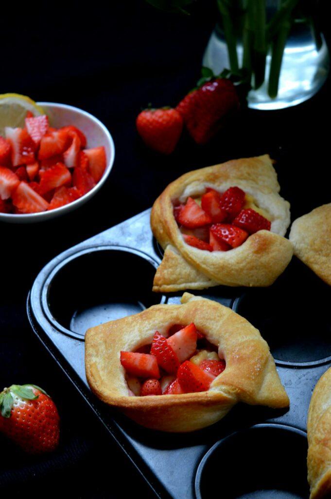 Knack und Back Croissantteig Erdbeer Plunder